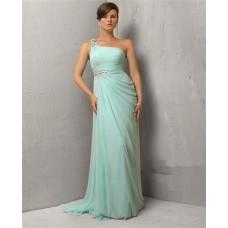 Sheath One Shoulder Long Mint Green Chiffon Evening Dress With Beading
