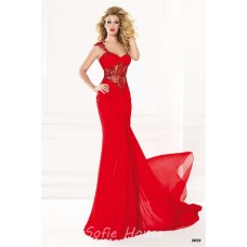 Sheath One Shoulder Long Red Chiffon See Through Beaded Prom Dress