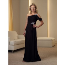 Sheath One Shoulder Strap Black Chiffon Beaded Mother Of The Bride Evening Dress