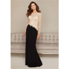 Sheath Open Back Black Chiffon Champagne Lace Long Sleeve Special Occasion Evening Dress