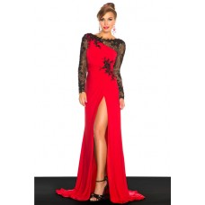 Sheath Open Back Long Red Chiffon Evening Prom Dress With Black Lace Sleeve