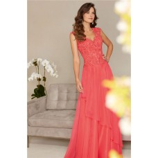 Sheath Scalloped Neck Long Watermelon Chiffon Lace Beaded Evening Prom Dress With Buttons