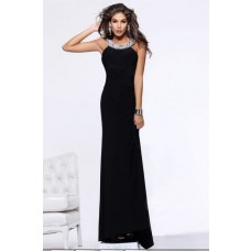 Sheath Scoop Neck Backless Long Black Chiffon Formal Evening Prom Dress With Straps