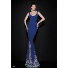 Sheath Scoop Neck Backless Royal Blue Satin Embroidery Evening Prom Dress