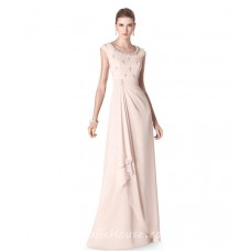 Sheath Scoop Neck Light Pink Chiffon Ruffle Beaded Long Evening Dress