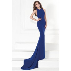 Sheath Sheer Back Royal Blue Satin Special Occasion Evening Dress With Train