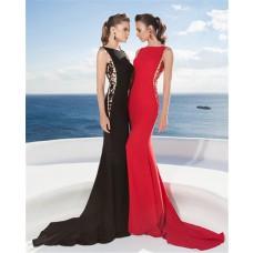 Sheath Sleeveless Black Satin Beaded Formal Evening Dress With Sweep Train