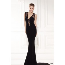 Sheath Sleeveless Black Satin Tulle Beaded Evening Dress With Sweep Train