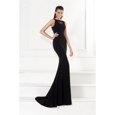 Sheath Sleeveless Front Cut Out Sheer Back Black Satin Evening Dress