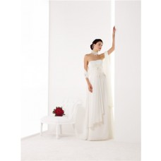 Sheath Strapless Empire Waist Chiffon Draped Beach Wedding Dress Feather Flower Belt