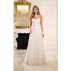 Sheath Strapless Lace Tulle Flowing Wedding Dress Crystals Belt