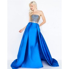 Sheath Strapless Royal Blue Taffeta Beaded Prom Dress With Overskirt