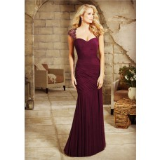 Sheath Sweetheart Cap Sleeve Burgundy Chiffon Beaded Evening Dress With Draping