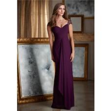 Sheath Sweetheart Cap Sleeve Long Purple Chiffon Draped Women Evening Dress