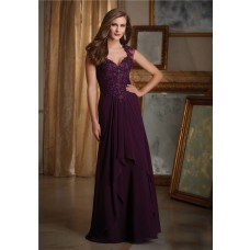 Sheath Sweetheart Cap Sleeve Long Purple Chiffon Lace Beaded Evening Dress With Buttons