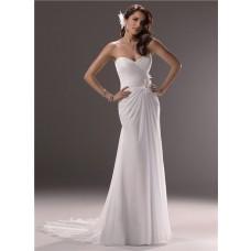 Sheath Sweetheart Cowl Back Chiffon Beach Wedding Dress With Flowers