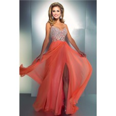 Sheath Sweetheart Cut Out Long Coral Chiffon Beaded Prom Dress With Straps