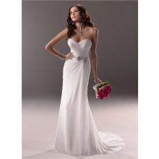 Sheath Sweetheart Destination Beach Chiffon Wedding Dress With Crystal