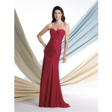Sheath Sweetheart Dropped Waist Burgundy Chiffon Mother Of The Bride Evening Dress