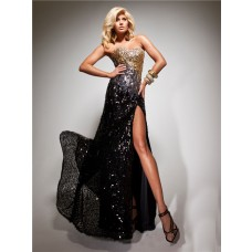 Sheath Sweetheart Long Black Gold Sequined Beaded Evening Prom Dress With Slit