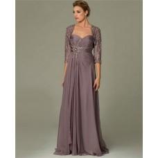 Sheath Sweetheart Long Dusty Rose Chiffon Lace Beaded Evening Dress With Bolero Jacket