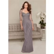 Sheath Sweetheart Long Grey Chiffon Tulle Beaded Evening Dress With Sleeves