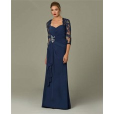 Sheath Sweetheart Long Navy Blue Chiffon Lace Sleeve Occasion Evening Dress