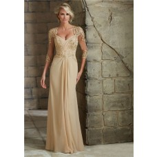 Sheath Sweetheart Open Back Champagne Chiffon Lace Mother Of The Bride Dress With Sleeves