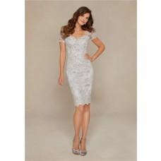 Sheath Sweetheart Open Back Short Sleeve Silver Lace Beaded Evening Dress