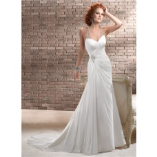 Sheath Sweetheart Ruched Chiffon Wedding Dress With Illusion Crystals Back