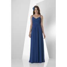 Sheath Sweetheart Spaghetti Straps Criss Cross Shirred Long Royal Blue Chiffon Bridesmaid Dress