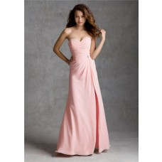 Sheath Sweetheart Strapless Long Light Pink Chiffon Wedding Guest Bridesmaid Dress With Slit