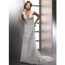 Sheath V Neck Cap Sleeve Destination Beach Lace Wedding Dress With Crystal Buttons