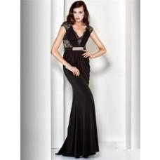 Sheath V Neck Cap Sleeve Long Black Lace Velvet Evening Dress With Belt
