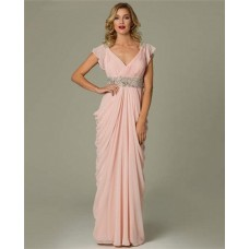 Sheath V Neck Cap Sleeve Long Light Pink Chiffon Draped Evening Dress
