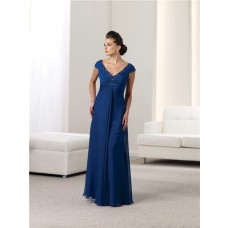 Sheath V Neck Cap Sleeve Royal Blue Chiffon Beaded Mother Of The Bride Evening Dress