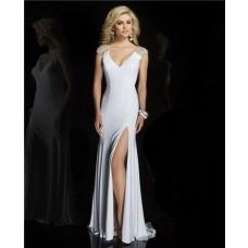 Sheath V Neck Cap Sleeve See Through Sheer Back Long White Chiffon Beaded Prom Dress