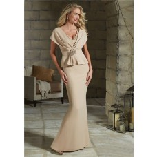 Sheath V Neck Champagne Crepe Peplum Evening Dress With Sleeves