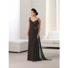 Sheath V Neck Chocolate Brown Chiffon Mother Of The Bride Evening Dress With Straps