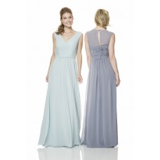 Sheath V Neck Keyhole Open Back Long Pale Blue Chiffon Occasion Bridesmaid Dress