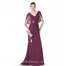 Sheath V Neck Long Burgundy Chiffon Evening Dress With Shawl Sash