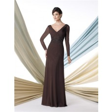 Sheath V Neck Long Sleeve Chocolate Brown Chiffon Mother Of The Bride Evening Dress
