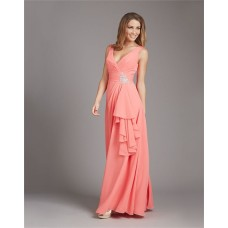 Sheath V Neck Low Back Long Coral Chiffon Ruffle Wedding Guest Bridesmaid Dress