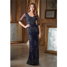 Sheath V Neck Navy Blue Tulle Lace Beaded Formal Occasion Evening Dress With Sleeves
