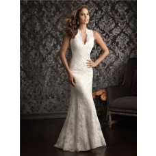 Sheath V Neck Scalloped Lace Destination Wedding Dress With Sheer Back