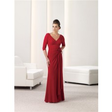 Sheath V Neck Three Quarter Sleeve Red Chiffon Mother Of The Bride Evening Dress