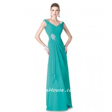 Sheath V Neck Turquoise Chiffon Draped Special Occasion Evening Dress
