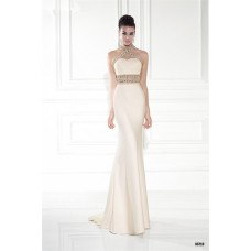Sheath White Satin Gold Beaded Special Occasion Evening Prom Dress