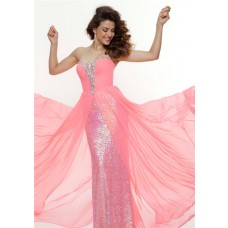 Sheath sweetheart long pink sequined flowy prom dress with beading
