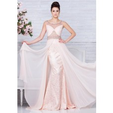 Sheer Illusion Neckline And Back Peach Lace Chiffon Beaded Long Prom Dress Flowing Skirt